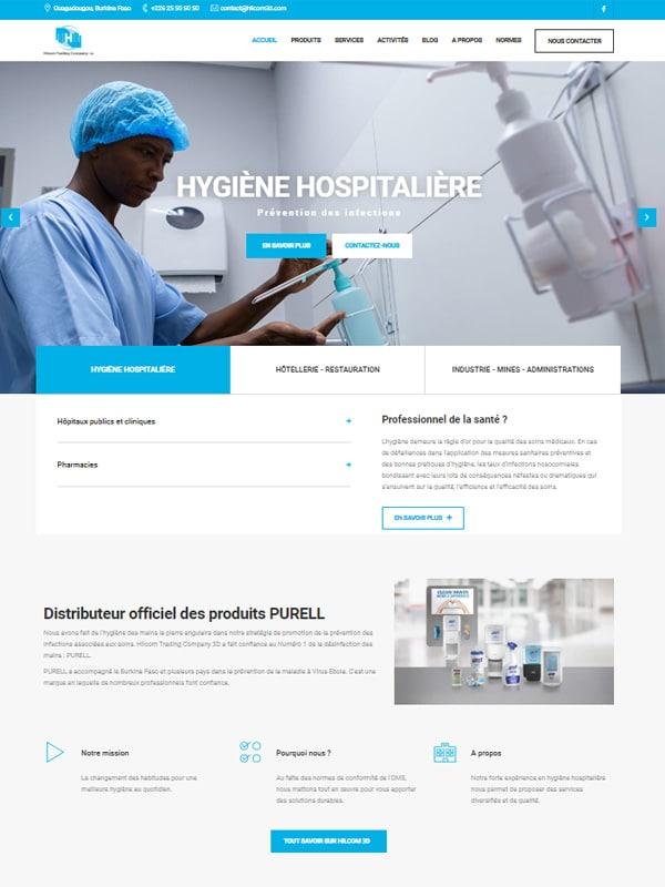 Aperçu de la page d'accueil du site Internet de Hilcom 3D