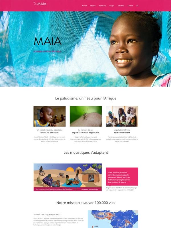 Aperçu du site web vitrine one page de Maïa